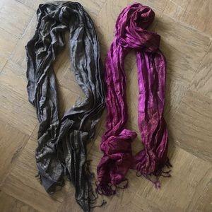 Two Old Navy Metallic Tassel Scarves